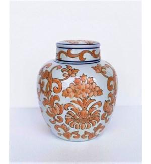 "10"" Ceramic Jar with Lid, Orange/Blue"