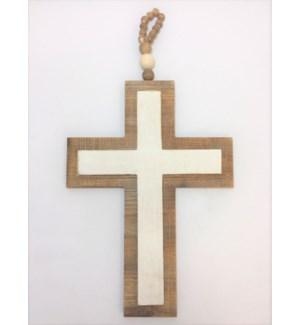 "10""L x 19""H x .75""D Wood Cross with Bead Hanger"