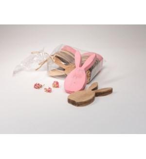 """1.75""""L x 4""""H x .5""""D Wood Rabbit Scatter, 8 Piece Bag"""