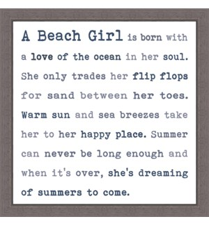 A BEACH GIRL - FRAMED TYPOLOGY 12X12
