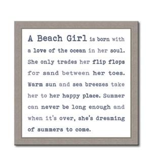 A BEACH GIRL - FRAMED TYPOLOGY 12X12