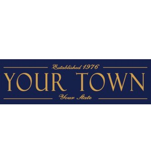 6X20 ESTABLISHED TOWN SIGN - NAVY
