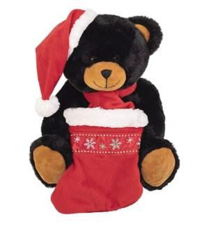 "10"" Cafe Black Bear w/Hat, Scarf, & Stocking"