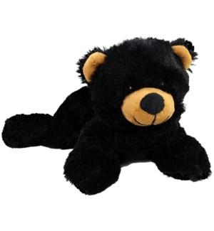 """10"""" Floppy Black Bear w/emb eyes"""