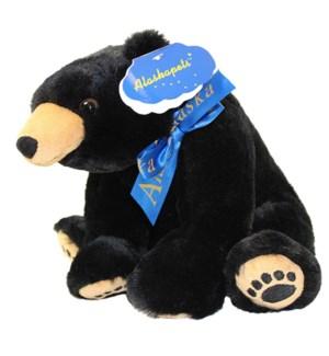 """10"""" Black Bear w/Paws AK Ribbon"""