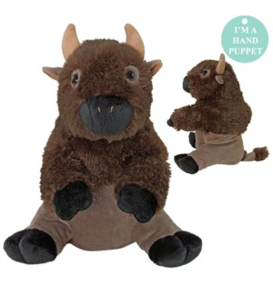 """10"""" American Bison Hand Puppet, SuperSoft"""