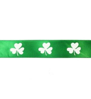 "1"" Green Ribbon with White Shamrock ?"