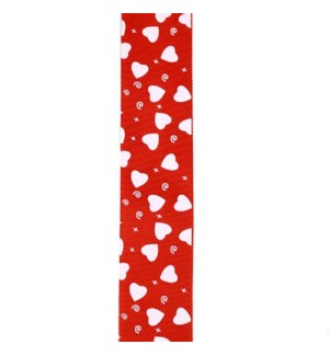"""1.5"""" Red Valentine's Ribbon with White Hearts"""