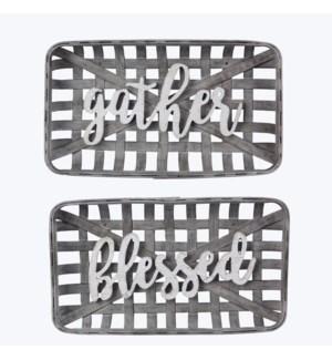 BambooTabacco Basket Sign, 2 Assorted
