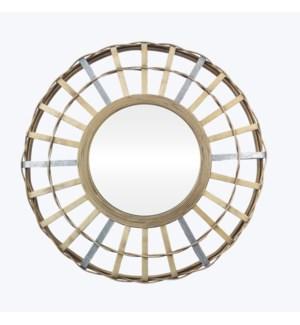 Bamboo Basket Wall Mirror