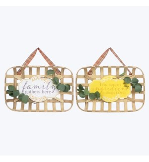 Bamboo Basket Fall Harvest Wall Sign, 2 Ast.