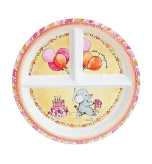 CELEBRER VOTRE JOURNEE 'CELEBRATE YOUR DAY' ROUND TEXTURED SECTIONED PLATE