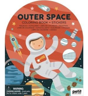 Coloring Book with Stickers Outer Space