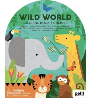 Coloring Book with Stickers Wild World