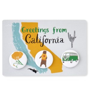 California Buttons set of 3 on postcard