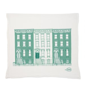 Blue Brownstones Tea Towel