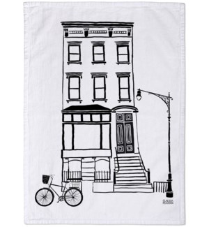 Black & White Brownstone Tea Towel