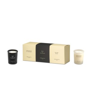 Luxury gift set 3 small jars 3x2.4 oz Bergamotto di calabria, Basil&Mandarin, Velvet wood