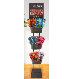 "Garden Floor Display ( H 76 X W 12.5 X D 12.5"", includes 6 ""Oval"" Garden Tins)"