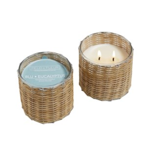 BLU EUCALYPTUS 2 WICK HANDWOVEN CANDLE 12oz. TESTER  FREE W/3 CTNS. OR MORE  CTN. 1