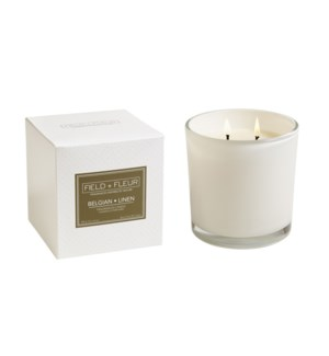 BELGIAN LINEN CANDLE IN WHITE GLASS 12oz TESTER FREE W/3 CTNS OR MORE CTN. 1