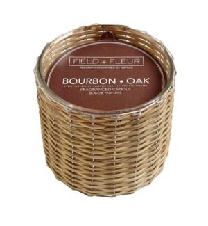 BOURBON OAK 2 WICK HANDWOVEN CANDLE 12oz CTN. 6