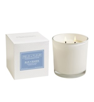 BLUE SEASIDE 2 WICK CANDLE IN WHITE GLASS TESTER FREE W/3 CTNS OR MORE CTN. 1