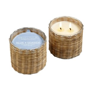 BLUE SEASIDE 2 WICK HANDWOVEN CANDLE 12oz TESTER CTN. 1