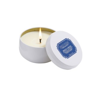 BEACH WOOD CANDLE IN WHITE TIN 6oz TESTER FREE W/3 CTNS OR MORE  CTN. 1