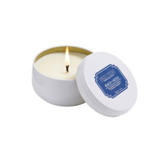 BEACH WOOD CANDLE IN WHITE TIN 6oz CTN. 6
