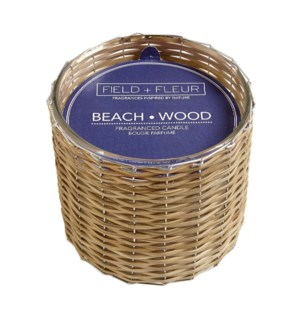 BEACH WOOD 2 WICK HANDWOVEN CANDLE 12oz TESTER FREE W/3 CTNS OR MORE CTN. 1