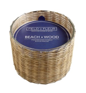 BEACH WOOD 3 WICK HANDWOVEN CANDLE 21oz  CTN. 4