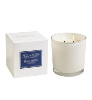 BEACH WOOD 2 WICK CANDLE IN WHITE GLASS 12oz  CTN. 6