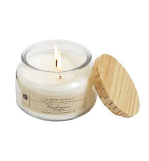 CASHMERE 1 WICK CANDLE JAR W/WOODEN LID 8.5oz CTN. 6