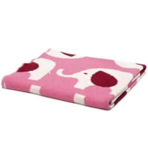 Eco Baby Elephant Throw Pink