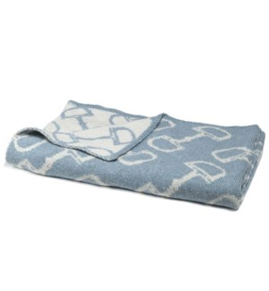Eco Baby Reversible Horse Bits Throw Blue