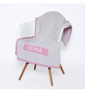 Eco Baby Herringbone Patch Personalized Throw Pink
