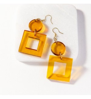 amber lucite square dangle earrings 2.5 in.