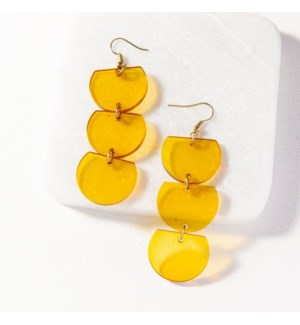 amber lucite trio half circle dangle 3 in.