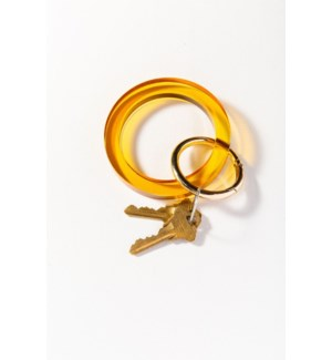 amber round lucite key ring .5 in.