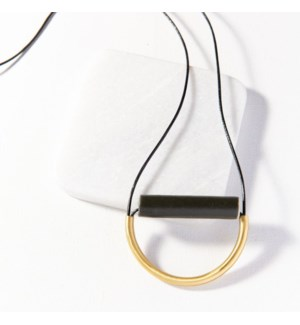 black ceramic and brass necklace with leather cord 31 in.