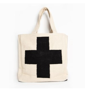 black and white cross dhurrie tote bag 18 in. x 17 in.