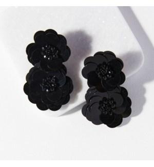"black double flower post earring 2.75"""