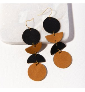 black camel geo dangle leather earring 3.5""