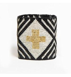 "black ivory stripe with cross luxe stretch beaded bracelet 2.25"""
