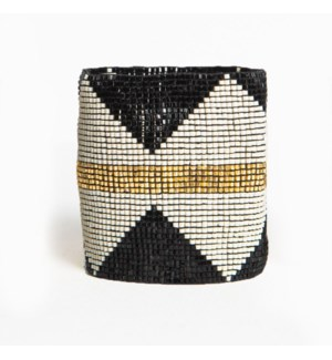 black & ivory diamonds gold stripe luxe stretch beaded bracelet 2.25 in.
