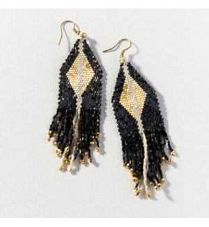 black & gold luxe diamond with fringe earring 4.25 in.