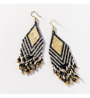 """black ivory stripe luxe earring with fringe 4"""""""