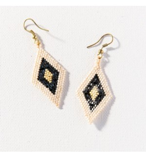 """black gold ivory border diamond luxe earring 2.5"""""""