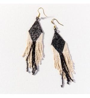 "black ivory diamond stripe luxe earring with fringe 4.25"""
